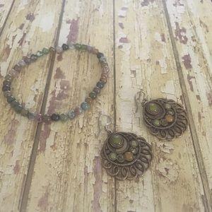 Boho Green Earring & Bracelet Set